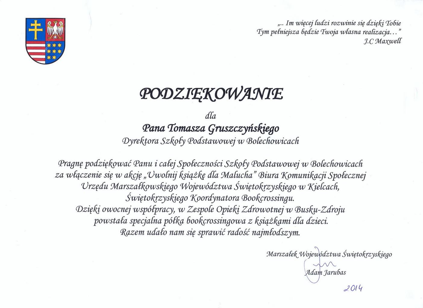 Podziękowania od Marszałka Województwa_zmień nazwę