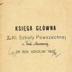 Księga główna 1920/21 - strona tytułowa